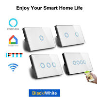 US AU Smart WiFi Light Switch Touch Panel 1/2/3/4 Gang Voice Alexa Google Home