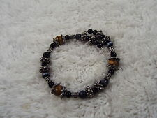Silvertone Tiger's Eye Stone & Gray Cat's Eye Glass Bead Cuff Bracelet  (D10)