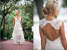 Custom White/Ivory Lace Backless Bridal Gown Wedding Dress 6-8-10-12-14-16-18++