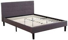 Standard Linen Upholstered Platform Bed, Bedframe with Slats, Queen, Dark Grey