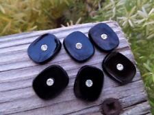 Sleek Vintage Black Glass Rhinestone Cabochons Cabs NOS Crafts Old German