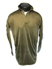 US MILITARY OD SLEEP SHIRT COLD WEATHER THERMAL BASE MID LAYER 2-BUTTON MED VGC