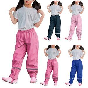 Kid Baby Boys Girls Waterproof Over Trousers Mud Dirty Proof Rain Pants Rainwear
