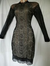 Vintage Wiggle Dress Pencil Bodycon Lace Black Nude Sexy Zip ASOS NEW 8 36 US 4