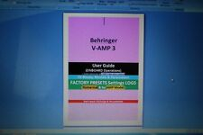 Behringer V-AMP3:  User Guide&Factory Presets Settings Log+TEMPLATE(Secured PDF)