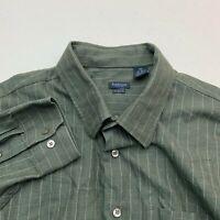 Van Heusen Studio Dress Shirt Mens 18-18.5 Dark Green Long Sleeve Check Business