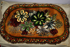 Vintage Handmade Latch Hook Floral For Wall/Floor Area Rug Oval UNFINISHED