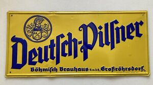 ❗️RAR ❗️ Deutsch Pilsner Blechschild 1930 Böhmisch Großröhrsdorf Schild Bier