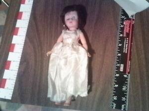 "10"" Madame Alexander style doll  wedding dress satin as found"