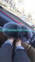 Black Frost Real Fox Fur Slippers Sandals Shoes Outerdoor Fur Slides Sliders