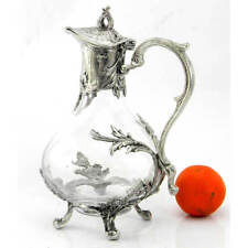 Hand-blown Glass and Pewter Jug Liberty Style cavagnini 100% Made in Italy