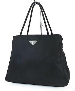 Authentic PRADA Black Nylon Tote Hand Bag Purse #40015
