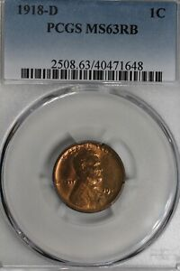 1918-D  .01  PCGS  MS 63RB  Lincoln Head Cent, Old Copper Collector Coin,