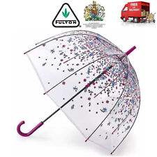 Fulton Tumble Down Petals Clear Birdcage Dome Shape Walking Floral Umbrella