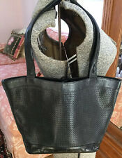 i Santi Black Leather Woven Shoulder Tote Bag Italy