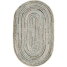 Rug Braided Handmade Oval Denim Jute Multi color Floor Mat Area Rugs Various Sz