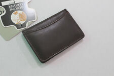 """Dark brown Leather Wallet, 3x4"""" Expandable Credit Card ID Business Holder"""