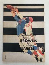 1961 CLEVELAND BROWNS JIM BROWN FOOTBALL PROGRAM VS PHILADELPHIA EAGLES
