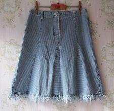 RARE! VINTAGE 50s 70s Onara PIN STRIPE KICK Pleat Flare Una linea Fray gonna in denim blu