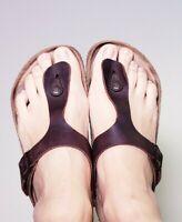 Birkenstock Women's Gizeh Thong Brown Leather Flip Flops Sandals! Size 6 EU 37