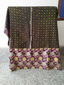 Indian Patchwork Kantha Quilt Handmade Cotton Bedding Bedspread Ccoverlet Throw