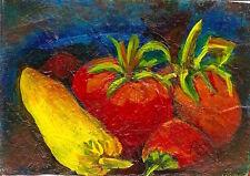 ACEO Veggies Vegetables Tomatoes Peppers Food Art Original by Penny Lee StewArt