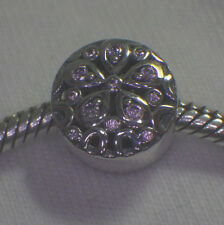 UNBRANDED 925 SILVER SCROLLED PINK CRY FLOWER MEDALLION BUTTON CHARM BEAD SPACER