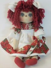 "PRIM ART DOLL HANDMADE CHRISTMAS  Raggedy Ann Doll ""MARGARET"" CANDY CANE ORNIE"
