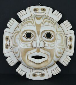 FIRST NATION STYLE TOTEMIC MOON MASK ~ CANADIAN ABORIGINAL STYLE