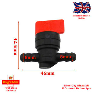 """Universal 8mm Plastic Petcock/Fuel Tap, for 1/4"""" ID Pipe. Motorcycle, Lawnmower."""