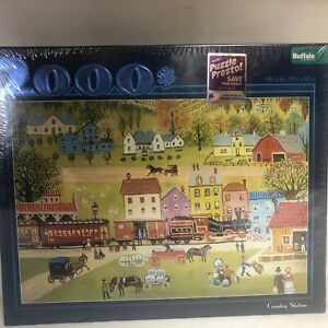 """NEW - Buffalo Games 2000 Piece Puzzle """"Country Station"""" 38"""" X 26"""" AMERICANA"""