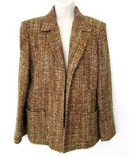 Kasper Womens Twill Blazer Jacket Sz 14 Open Front Green Pink Silk Blend Pocket