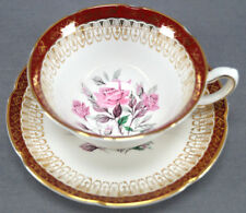 Royal Grafton Pink Rose Tea Cup & Saucer With Red & Gilt Art Deco Border
