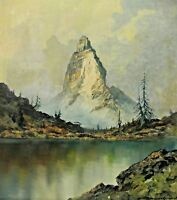Signiert - Hochgebirgslandschaft mit Gebirgssee