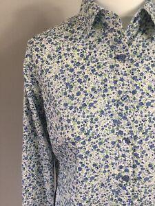 BNWT Scaline Stokhold Blue Floral Liberty Print Button Fitten Shirt Blouse UK 10