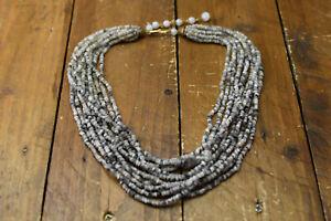 tourmalinated quartz multi strand bead necklace
