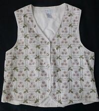 Van Heusen Women's Button Down Embroidered Floral Vest Size Large