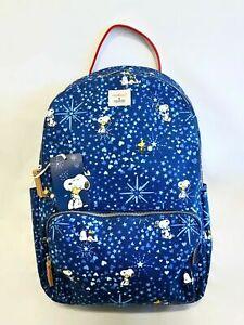 Cath Kidston Snoopy Blue Pocket Backpack Rucksack Double Zip Woodstock Peanuts