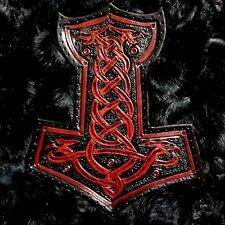 thor hammer  red antique GENUINE LEATHER  BACK PATCH