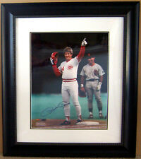 "PHOTOGRAPH ~ PETE ROSE ~ 4256 HITS ~ AUTOGRAPHED ~ FRAMED ~ 16"" x 20"" ~ COA"