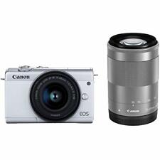 Canon Mirrorless Camera EOS M200 White Double Zoom Lens Kit EMS w/ Tracking NEW