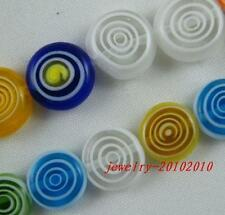 100pcs Glass Circle Shaped Flat Spacer Beads 10x4mm p268