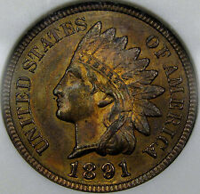 1891 Indian Head Cent Gem BU ANACS MS-64 RB...Super Pretty and Totally Original!