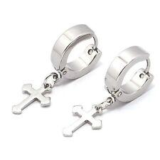 12.4mm Cross Stainless Steel Punk Men earring 5 colors for choose ear buckle 2pc