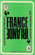 FRANCE v IRELAND 29 Jan 1972 RUGBY PROGRAMME at PARIS