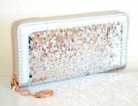 Portefeuille femme argent mini sac pochette eco cuir paillettes gris zip or A18B
