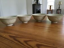 rare set 4 antique Chinese Song dynasty Longquan celadon bowl cups carved