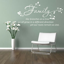 Wall Stickers Quotes FAMILY LIKE BRANCHES ON A TREE VINYL WALL ART DECAL   NEW18