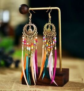 Indian Dreamcatcher Earrings Ear rings Gold Bohemian Boho Ear Rings Bird Moon