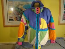Vintage NEIMAN MARCUS Color Block Shiny Colorful Ski Puffer Coat Down Small